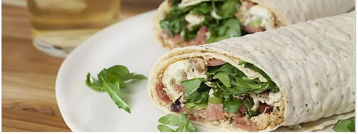 EGG WHITE AND TURKEY BACON WRAP WITH HERBS