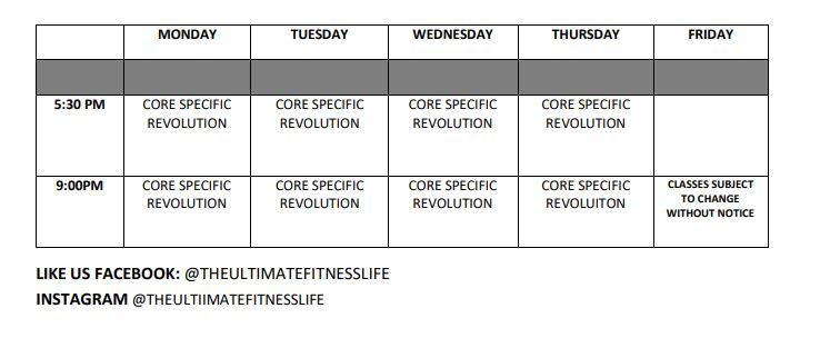 Core Specific revo schedule