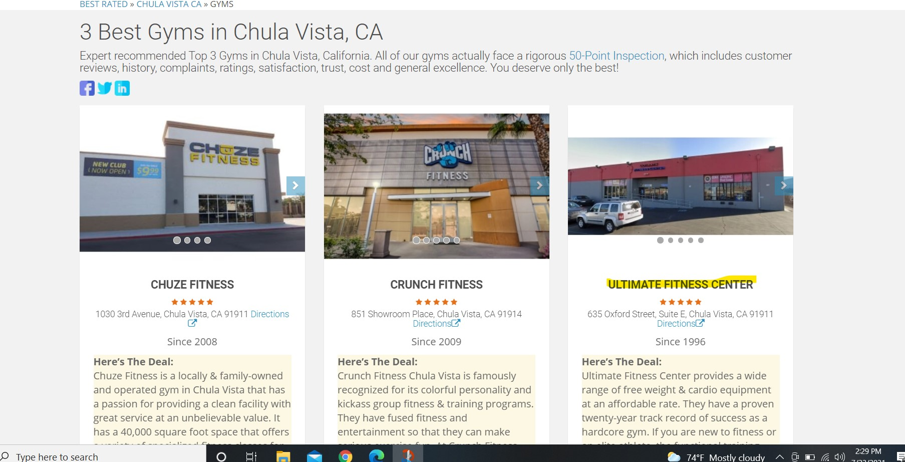 2021 Top 3 Rated Gyms In Chula Vista